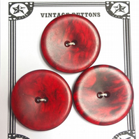 3 Vintage Deep Red Buttons 43mm