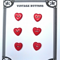 6 Vintage Red Heart Shaped Buttons