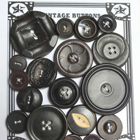 18 Vintage Earthy Brown Buttons