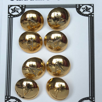 "8 Vintage Gold Metal ""A"" Buttons"
