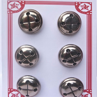 6 Vintage Silver Bell Buttons 28mm
