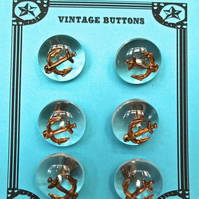 6 Vintage Clear Anchor Buttons