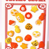 20 New Yellow and Orange Novelty Buttons