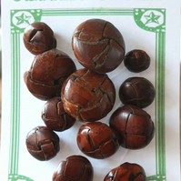 12 Leather Football Buttons