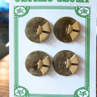 4 Vintage Deco Brown and Fawn Buttons