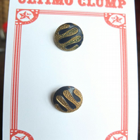 2 Vintage Blue and Gold Metal Buttons