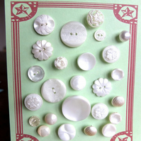 25 Vintage Pearly White Buttons