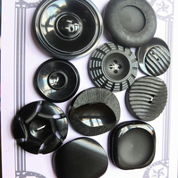 10 Vintage Chunky Black Buttons