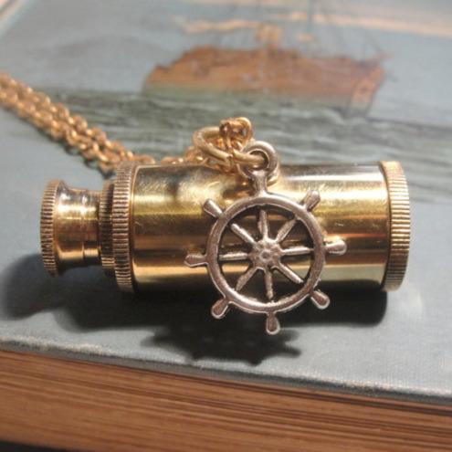 HELLO SAILOR Working brass telescope and silver ships steering wheel pendant necklace WITH SPECIAL OFFER