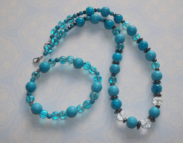 Turquoise and crystal set