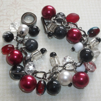 Red and black charm bracelet