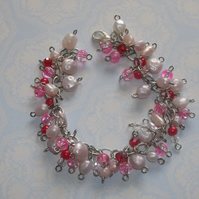 Pearly Pink Charm Bracelet