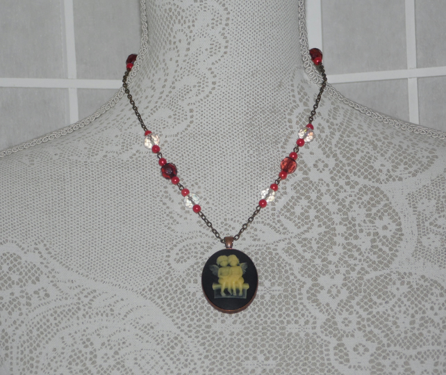 Cherubs in Red Cameo Necklace