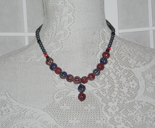 Blue n Red Necklace