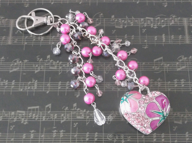 Crystal Pink Heart Bag Charm