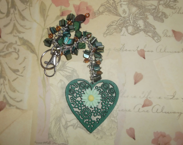 Green flower heart Bag Charm