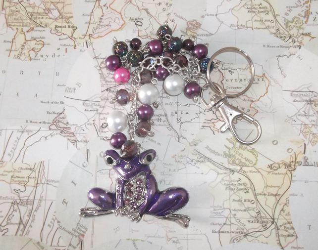 Purple frog bag charm