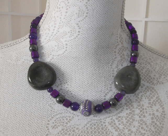Ceramic grey with amethyst necklace