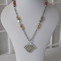 Orange glass pendant necklace