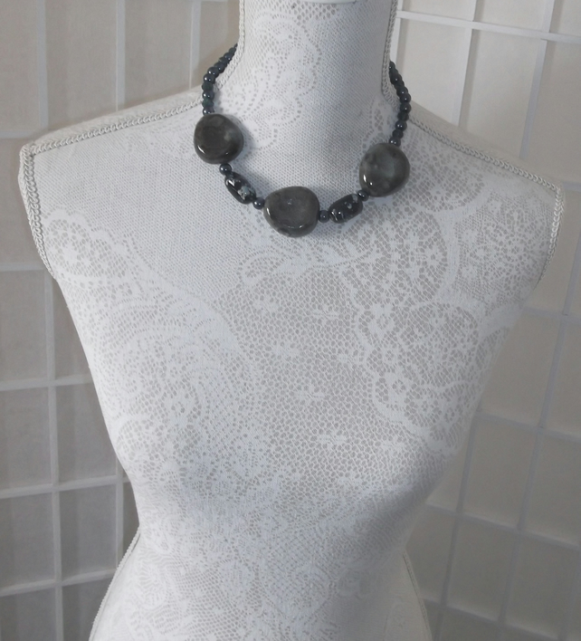 Slate grey with blue necklace