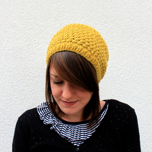 Beret hat knitted in chartreuse, honeycomb texture