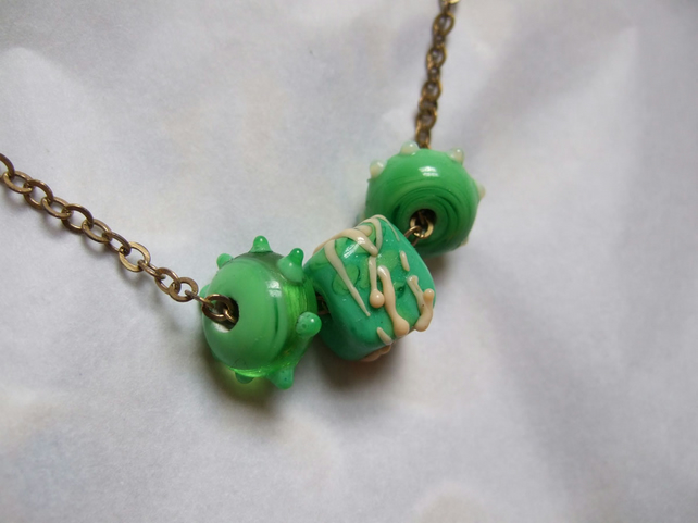 Green Harvest Beads - Necklace of Lampworked Beads