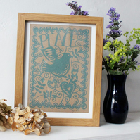 "Framed papercut ""peace"" print"