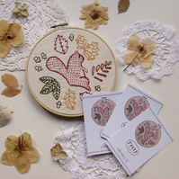 Embroidery Kit - squirrel and leaves