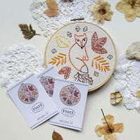 Embroidery Kit - fox and leaves
