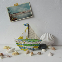 Little blue and yellow boat - textile sail boat