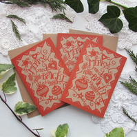 "Christmas card - papercut ""Merry and Bright"""