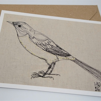 Grey Wagtail Embroidered Portrait Greetings Card