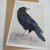 Crow Embroidered Portrait Greetings Card