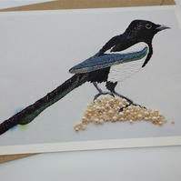 Magpie Embroidered Portrait Greetings Card