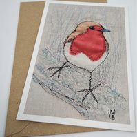 Robin Embroidered Portrait Greetings Card