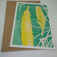 Feathers and Grass Mono Print Greetings Card