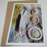 Feathers and Shells Textile Collage Greetings Card