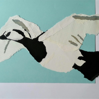 Flying Barnacle Goose Torn Paper Collage: Original Art work