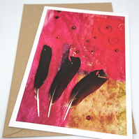 Red Feathers Textile Collage Greetings Card