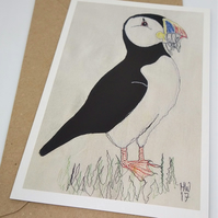 Puffin Embroidered Portrait Greetings Card