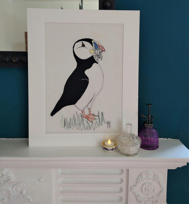 Puffin with Sand Eels Embroidered Portrait