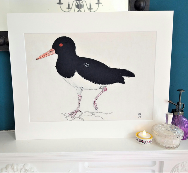 Oystercatcher Embroidered Portrait