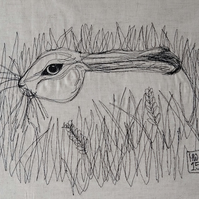 Hare in the Grass Embroidered Portrait