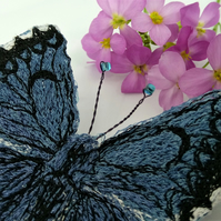Chequered Blue Butterfly Embroidered Brooch