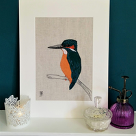 Kingfisher Embroidered Portrait