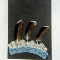 Feather Crown: Textile Collage with Lace and Feathers