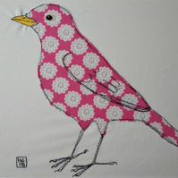 Pink Floral Blackbird Embroidered Portrait