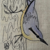 Nuthatch Embroidered Portrait