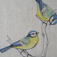 Blue Tits Embroidered Portrait