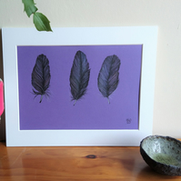 Three Small Feathers Original Pen and Pastel Drawing
